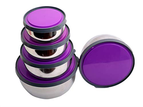 Home pro Stainless Steel 5 Piece Mixing Bowl Set  Purple