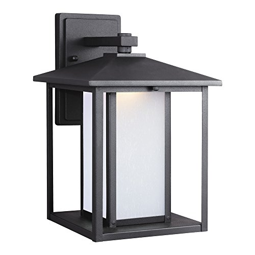 Sea Gull Lighting 8903191S-12 Hunnington LED Outdoor Wall Lantern with Etched Seeded Glass Panels, Black (14' Width Flush Mount)