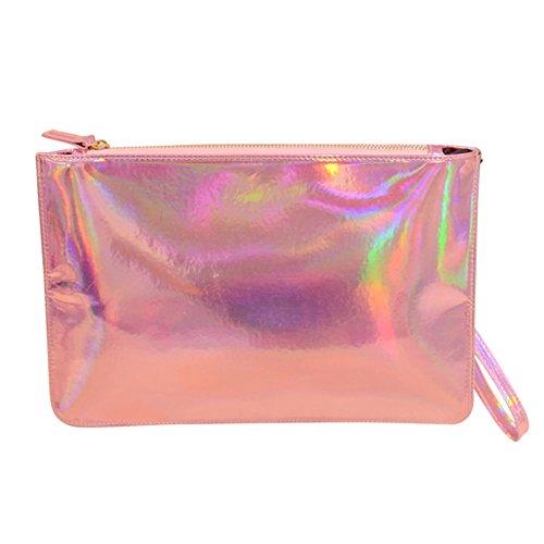 Pinks Purse Corsage (Women's Hologram Anti Wrinkle Wristlet Wallet Clutch Bag, Cell phone Pouch, Envelope Evening bag)