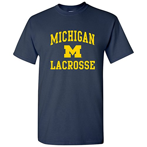 (AS1100 - Michigan Wolverines Arch Logo Lacrosse T-Shirt - Large - Navy)