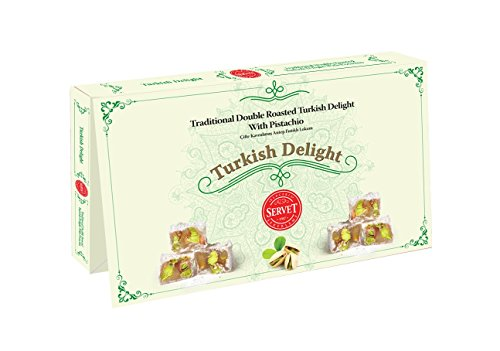 TRADITIONAL DOUBLE ROASTED AUTHENTIC TURKISH DELIGHT WITH PISTACHIO (9oz) by Servet USA
