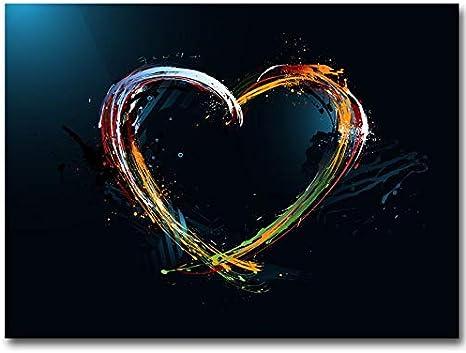 HGlSG Pintura en Lienzo Pintura al óleo Abstracta Acuarela Carteles e Impresiones Coloridas imágenes de Pared de Amor para Sala de Estar Decoración de Imagen A1 50x70cm