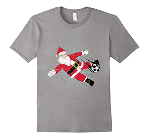 Mens Santa Claus Kicking a Soccer ball T-Shirt Small Slate - Kicking Santa