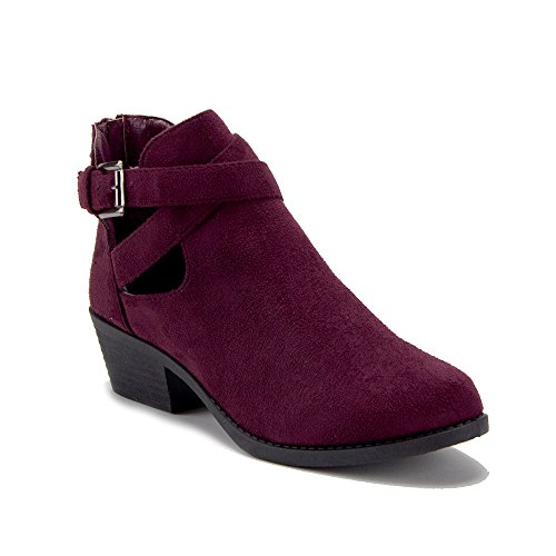 Slip High Booties Belted Aldo J'aime On Out Cut BAL Boots Women's 05W Ankle Burgundy Suede dY0xqPwvSq