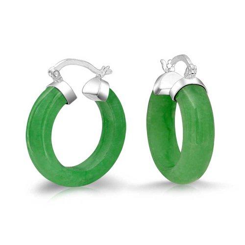 (Small Dyed Green Jade Sterling Silver Hoop Earrings)