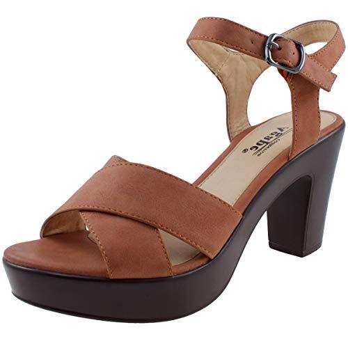 (Agape POST-35 Platform Chunky Heel Sandal (8, Brown))