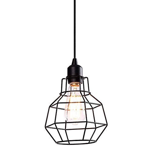 - Hanging Pendant Lighting Fixtures Industrial Edison Vintage Style Polygon Wire Pendant Light Art Deco for Kitchen Living Dinning Room Restaurant Bar Black Finish Metal Shade Black Cord