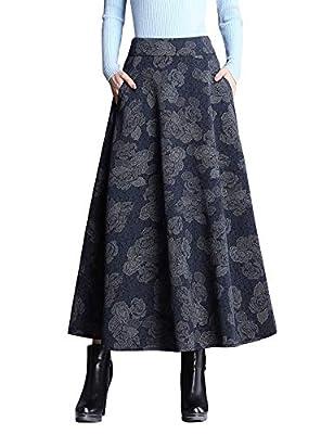 IDEALSANXUN Women's A-line Print/Plaid Wool Long Pleated Skirt