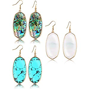 3 Pairs Stone Earring Set Oval Dangle Earrings Turquoise Earrings Jewelry Gifts for Women Girls (Style A)