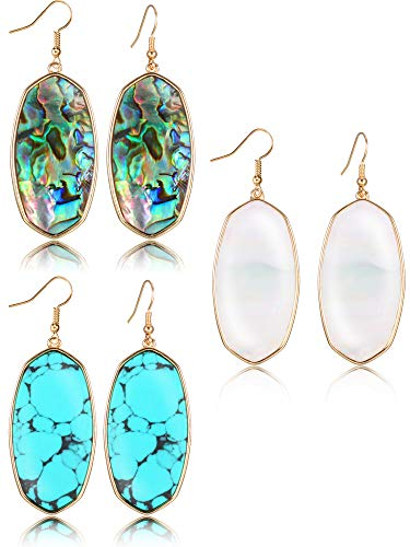 3 Pairs Stone Earring Set Oval Dangle Earrings Turquoise Earrings Jewelry Gifts for Women Girls (Style A) ()