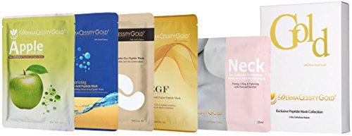 EXCLUSIVE 24K GOLD PEPTIDE MASK COLLECTION | 5 BIO-CELLULOSE MASKS | MOISTURIZING HA, APPLE STEM CELL, EPIDERMAL GROWTH FACTOR, UNDER-EYE, FIRMING NECK & DECOLLETE | LUXURY, EFFECTIVE by DermaCessity Gold!