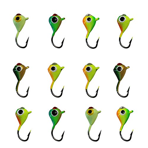 - Ice Fishing Jigs Lead Jig Heads Fishing Lure Jigs Winter Metal Lures (0.59inch/0.04oz-12pcs)