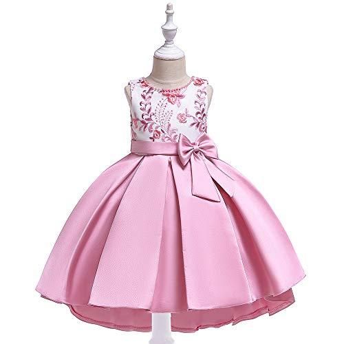 CHANMI Ins Children's Dress Handmade Beaded Embroidered Princess Dress Twill Satin Swallowtail Children's Catwalk Showtail Dress Flower Girl Skirt Photo Birthday Party,A,9~11yearsold(150)