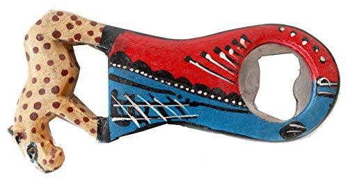 Bottle Opener African Hand Carved Wooden Leopard Bottle ()