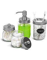 BOPRIO Mason Jars Rustic Farmhouse Bathroom Toothbrush Holder Soap Dispenser Apothecary Jars with Lid
