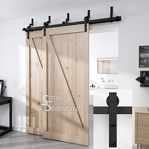 """6.6ft Bypass Double Door Sliding Barn Door Hardware - Smoothly and Quietly - Simple and Easy to Install - Includes Step-By-Step Installation Instruction - Fit 40"""" Wide Door Panel (2 x 6.6 foot Rail)"""