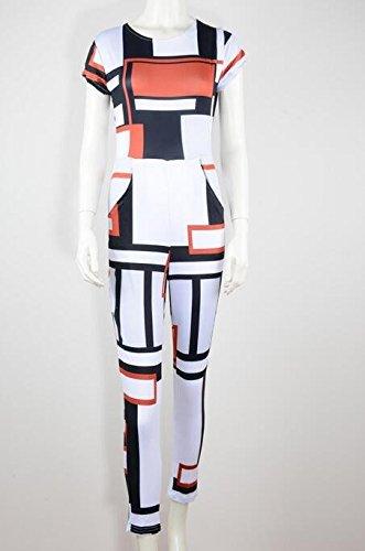 Aro Lora Women's Short Sleeve Geometric Street Long Pants Jumpsuits Rompers X-Large White