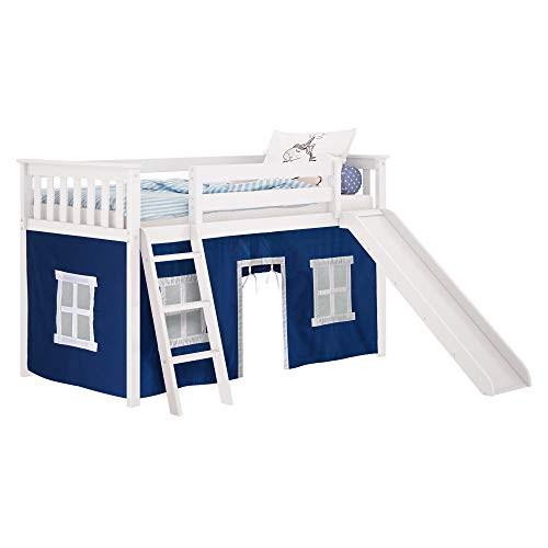 Max & Lily 180213-002-022 Low Loft with Slide, Twin, White, Blue Curtain