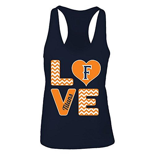 (FanPrint Official Sports Apparel Women's Tank Top Cal State Fullerton Titans Stacked Love, Size XS, Navy)