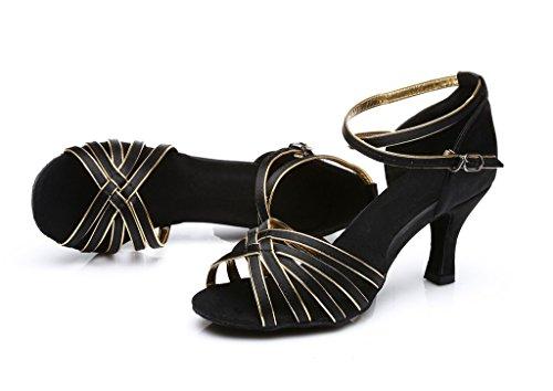 Womens Shoes gold Dance Womens Black Latin Ballroom Shoes Latin Dance UdC7qwC