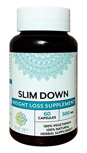 Blue Sky Herbal Slim Down - 60 caps- 500mg each. Stocked with Garcinia Cambogia for slimming down, burning fat. Natural metabolism boost for Weight Loss! Great for cleanse and slimming, vegan detox!