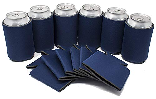 TahoeBay 25 Blank Beer Can Coolers, Plain Bulk Collapsible Soda Cover Coolies, DIY Personalized Sublimation Sleeves for Weddings, Bachelorette Parties, Funny HTV Party Favors (Navy Blue, 25)