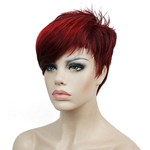 Short Synthetic Wig (Lydell Short Asymmetry Side Bang Straight Wig Full Synthetic Wigs 6 inches)