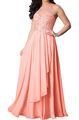 Chiffon Lang Partykleid amp;Spitze Beliebt Rosa Promkleid Linie Abendkleid Rueckenfrei Ivydressing A Damen IRYZqTx