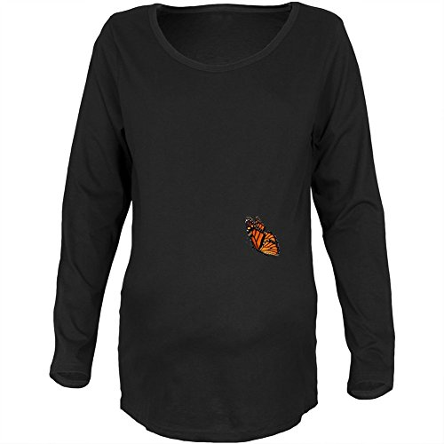 Monarch Butterfly Wings Costume Black Maternity Long Sleeve T-Shirt - (Butterfly T-shirt Hat)