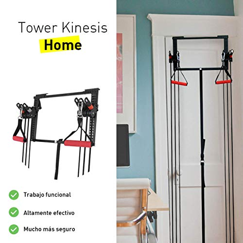 CloverFitness Tower Short Bar Door Pulley Pull-ups, Tensioners, Multiple Exercises, Unisex Adult, Black, M-L by CloverFitness (Image #1)