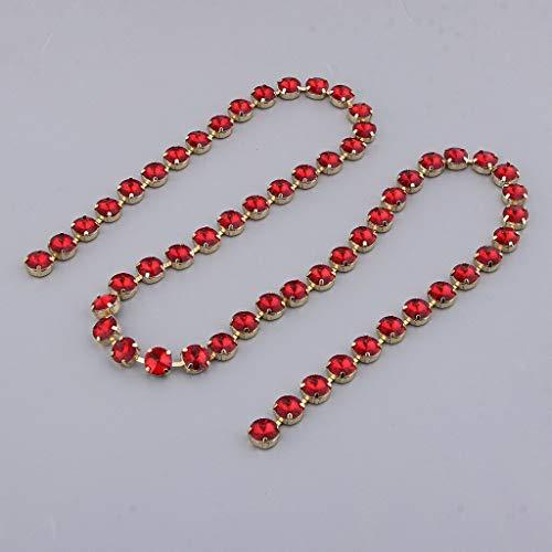 (1 Yd Diamante Trims Rhinestone Trimming Crystal Chain Ribbon Bridal Applique | Color - Red)