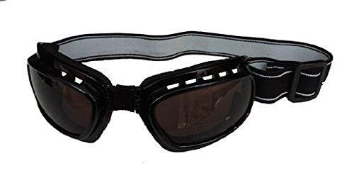 Black Plastic Aviator Steampunk Biker Costume Goggles