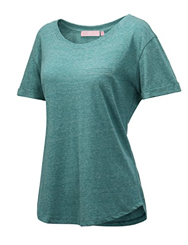 Regna X Love Coated Women's Cap Sleeve Sexy Long Batwing Loose Active Top Green