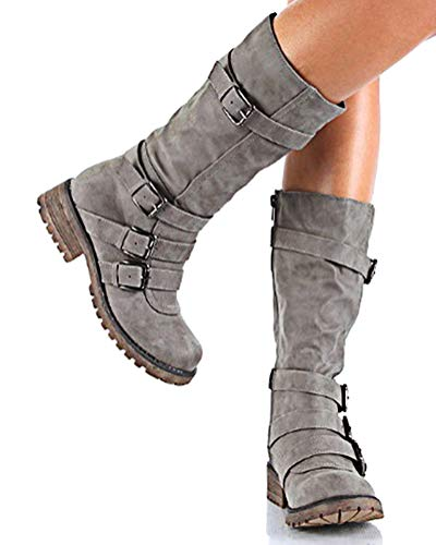 Femme De Casual Gris Bloc Chaussures Daim Automne Hiver Plateforme Bottines Minetom Bottes Mode Boots Sexy Talons Plate w41qEF