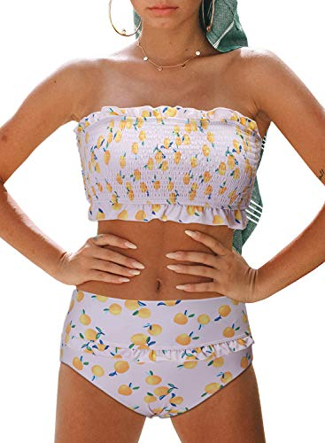 - Aleumdr Womens Floral Print Sexy Fashion Summer Strapless Smocked Ladies Bikini Set Ruffled High Waist Swimsuit Bathing Suit Two Pieces Swimear Swim Bottom Multicolored Small 4 6