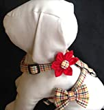 Dog Harness Flower/Bow Tie Set - Multicolored Plaid - Sizes XS, S, M
