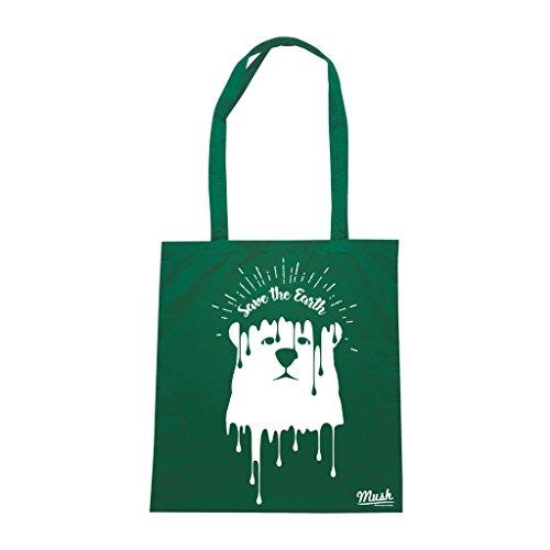 Borsa GO GREEN SALVA IL PIANETA - Verde Bottiglia - MUSH by Mush Dress Your Style