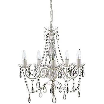 White Wrought Iron Crystal Chandelier Lighting! H 19\