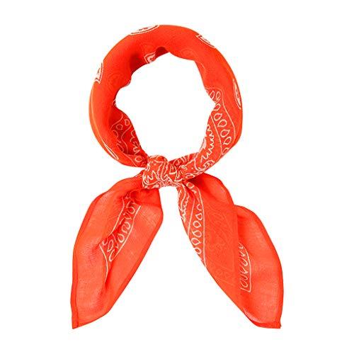 Chan Luu Viscose Bandana Print Neckerchief in Tangerine Tango ()