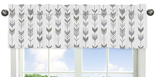 Sweet Jojo Designs Grey and White Window Treatment Valance for Woodland Arrow (Nursery Valance)