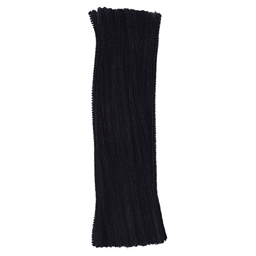 eBoot 100 Pieces Pipe Cleaners Chenille Stem for Arts and Crafts, 6 x 300 mm (Black)