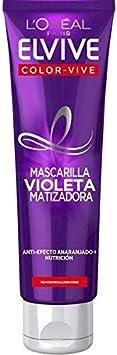 L'Oréal Paris Elvive Color Vive Mascarilla Violeta Matizadora para el Pelo con Mechas, Rubio o Gris - 150 ml