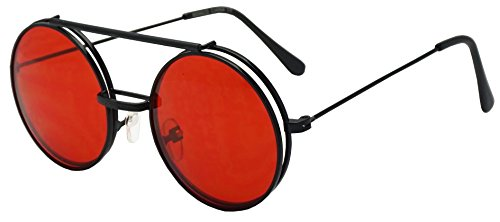 Round Circular Django Flip-Up Steampunk Inspired Metal Two in One Sunglasses (Black | Red Lens, - 2 1 In Sunglasses