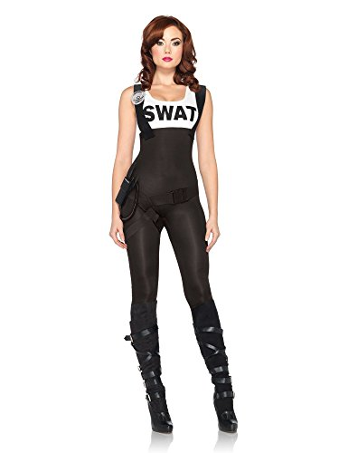 Leg Avenue Women's 3 Piece Swat Bombshell Costume, Black, Small (Adult Swat Costumes)