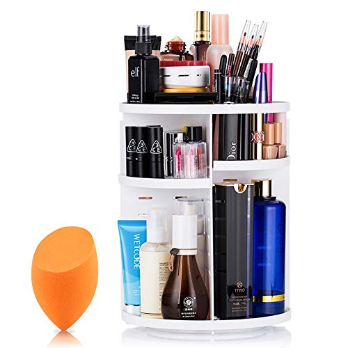 MOKARO 360 Degree Rotating Makeup Organizer for Mom Extra Large Capacity Adjustable Multifunctional Cosmetic Storage Box for Skin Care Products Makeup Sponges