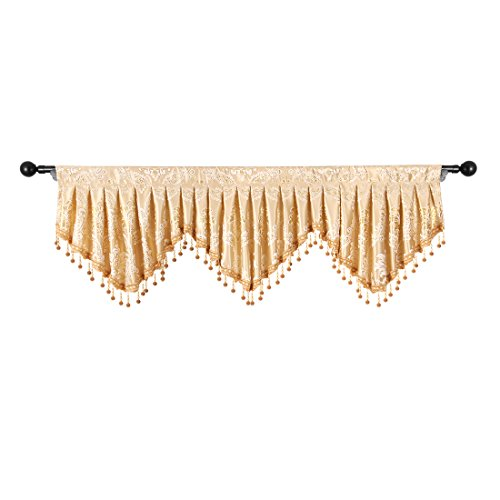 elkca Jacquard Fixed Pleated Window Curtain Valance for Living Room Scalloped Valance for Kitchen with Beaded Trim (Damask-Gold, W59) ()