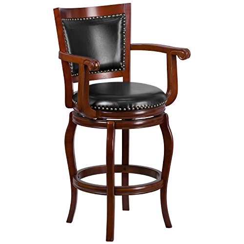 Flash Furniture 30'' High Cherry Wood Barstool with Black Leather Swivel Seat Black Cherry Bar Stools
