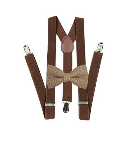 - Hemp Bow ties and brown suspenders Set Combo Mens (Brown)