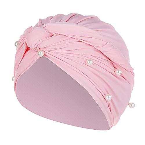 Sunshinehomely Women Retro Turban Head Cover with Flower Front Muslim Turban Hat Head Scarf Wrap Cap (Pearl ()