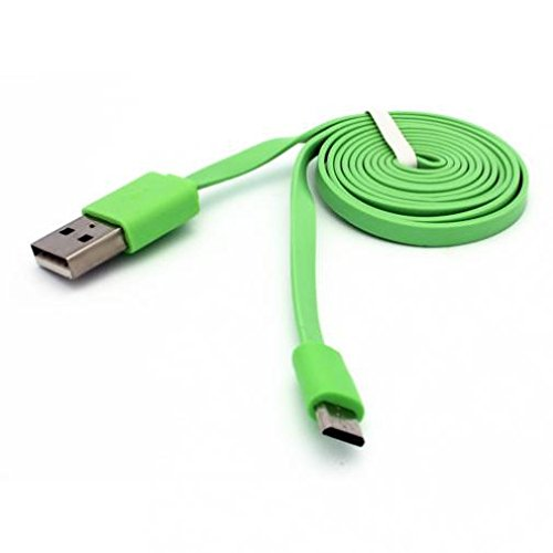 Green 6ft Long USB Cable Charger Sync Power Wire Data Transfer Cord Micro-USB for Boost Mobile Motorola Moto E5 Play - Boost Mobile Motorola Moto G6 Play - Boost Mobile Nokia Lumia 635 (Boost Mobile Lumia 635 Phone)